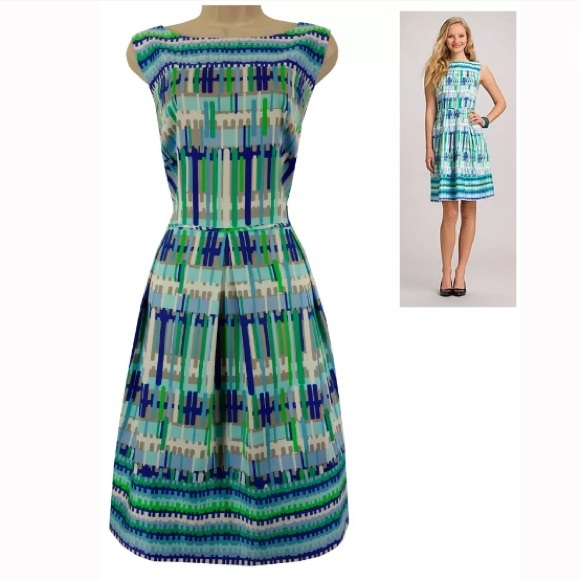 Dress Barn Dresses 16w 1xline Print Fit Flare Dress Plus Size